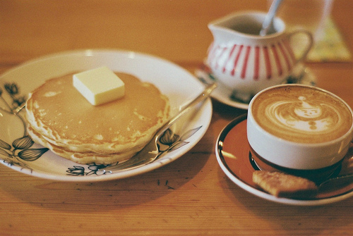 breakfast, coffee, cute, food, pancakes