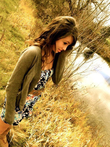 brown hair curly hair dress girl outdoors image