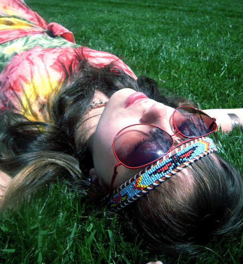 brunette, color, colour, girl, glasses, grass, green, headband, hippie, hippie era, hippie girl, hippy, hippy girl, nature, peace, photography, style, summer, tie dye, tie-dye, tie-dyed, vintage