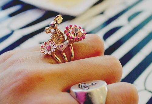 bunny, diamond, fashion, floral, gold, photography, pink, pretty, rabbit, ring