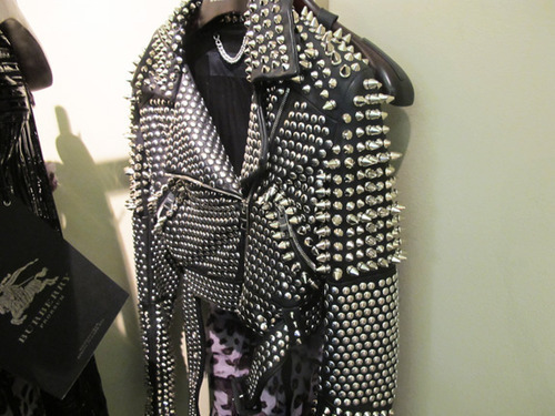 burberry, clothes, clothing, dress, fashion, girl, jacket, leather, leopard, metal, print, rock, rock n roll, spikes, studs