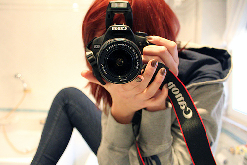 camera, canon, girl, red hair