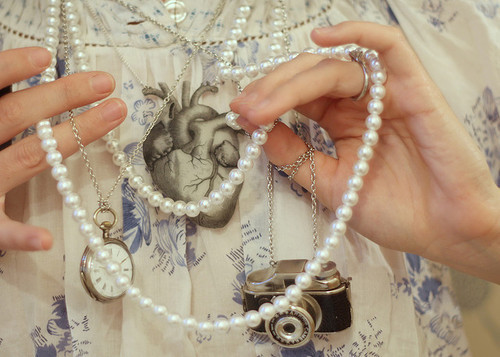 camera, clock, jewelry, necklaces, pearls