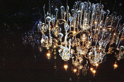 chandelier, crystal, dark, lights