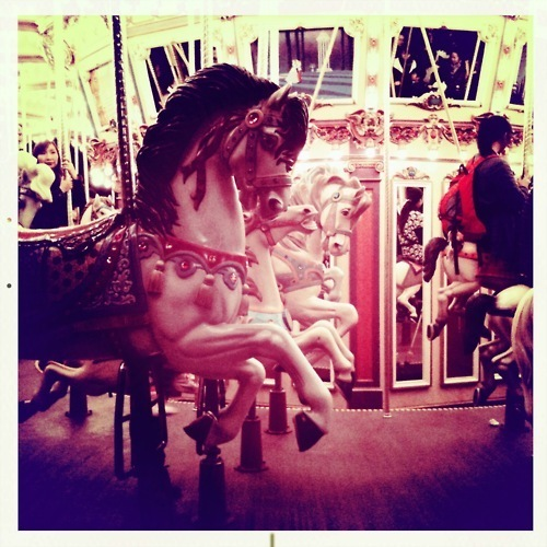 childish, cute, horse, horses, laugh, merry go round, photography, ride, smile, wonderland