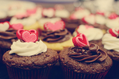 chocolate, cupcakes, hearts
