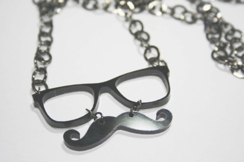 clever, cool, fashion, glasses, moustache, mustache, necklace, nerd glasses, photography, pretty, smart