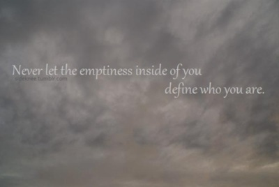 clouds, emptiness, empty, grey, inside, lonely, quote, typography, you