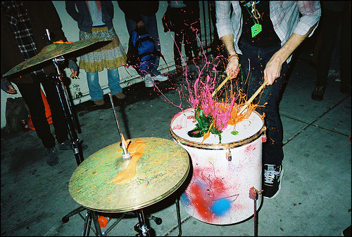 colors, drum sticks, drums, guy, paint