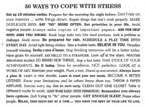 cope, instructions, list, stress, text