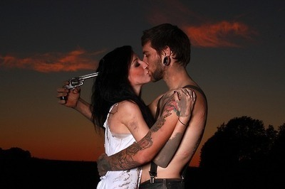 couple, cute, ear plugs, fashion, gun