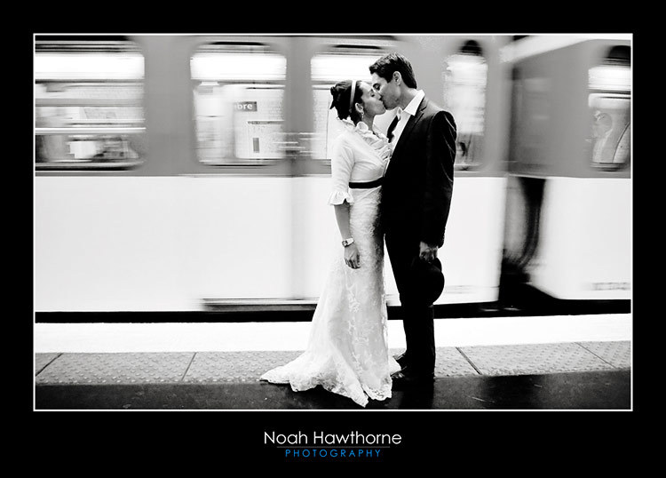 couple, kissing, paris, subway, wedding