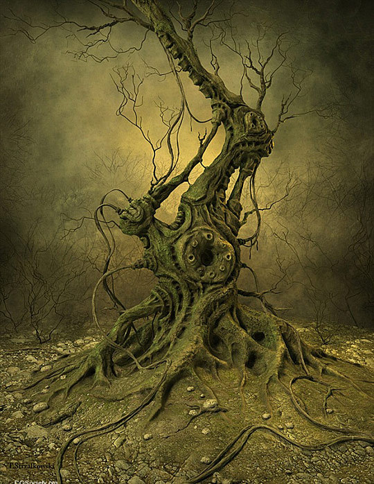creepy, haunted, illustration, tree, weird