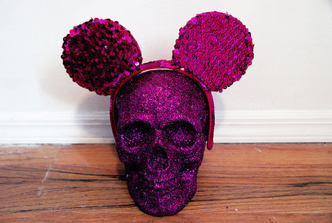 cute, ears, glitter, head, hot, lovely, mickey, mouse, pink, pretty, purple, sequin, skeleton, skull, sparkle, sparkly
