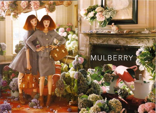 design, fashion, flowers, ginger, hydrangeas, models, mulberry, redhead, redheads
