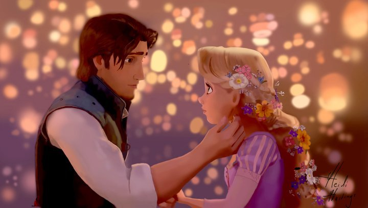 disney, flynn, flynn rider, lights, love