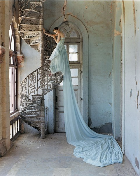 dress, girl, ladder