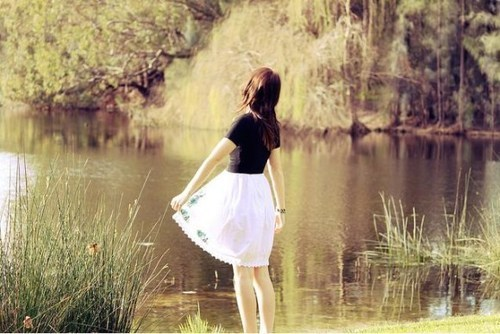 dress, girl, lake, pond