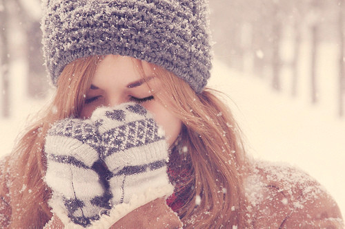 eyes, girl, gloves, hair, long, snow, winter
