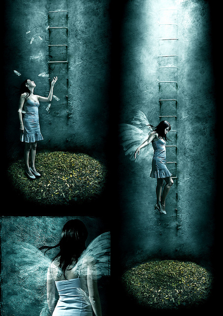 fairy, fantasy, girl, ladder, wings