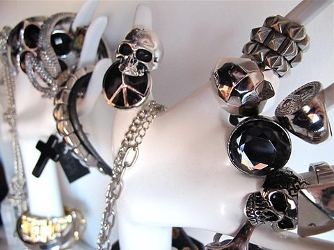 fashion, photography, rings and skulls