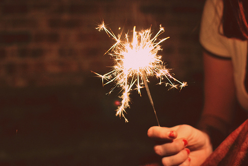fire, firework, girl, light, sparkle