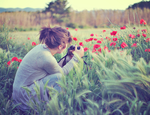 flower, girl, photo