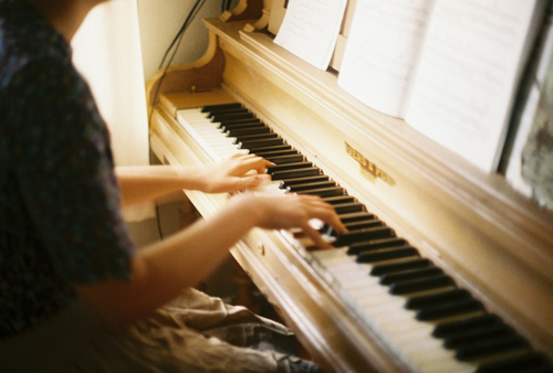 girl, keys, notes, photography, piano
