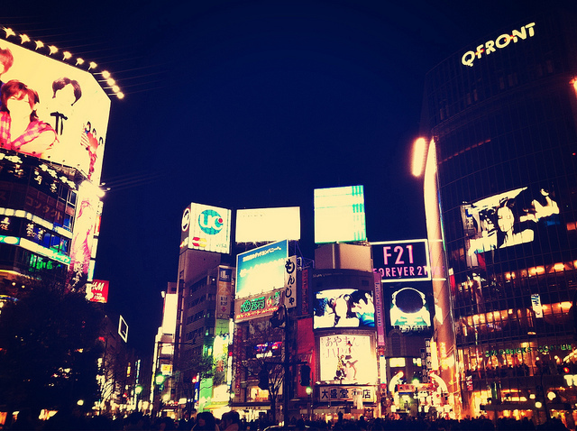 japan, lights, shibuya