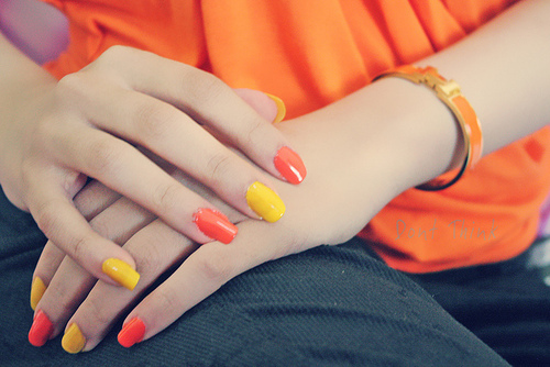nail polish, nails, orange, yellow