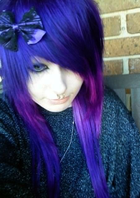 purple hair, scene, septum
