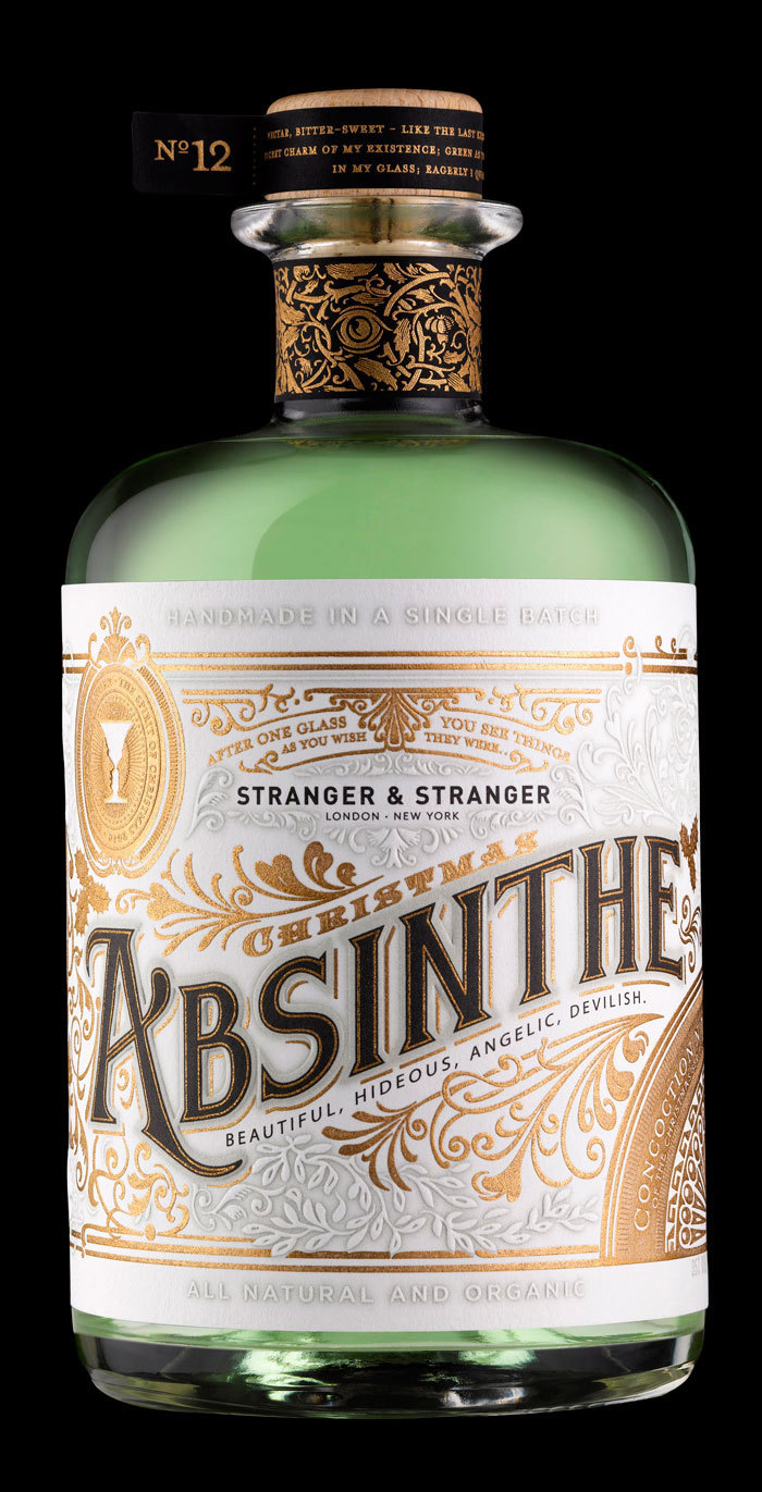 absinthe, alcohol, black, bottle, design