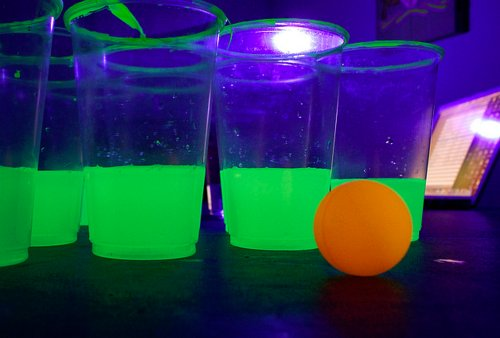 alcohol, beer pong, cool, drink, glow