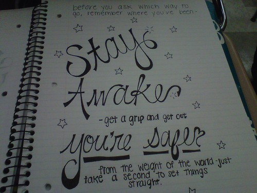 all time low, awaken, drawing, grip, lyrics, notebook, quote, remember, safe, stars, stay, straight, weight, world