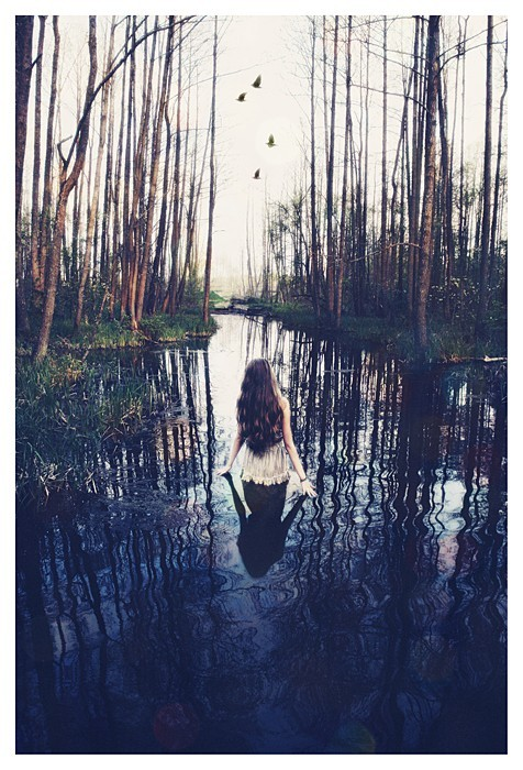 alone, birds, forest, girl, gloomy, gray, nature, river, solitude, stream, trees, water, woods