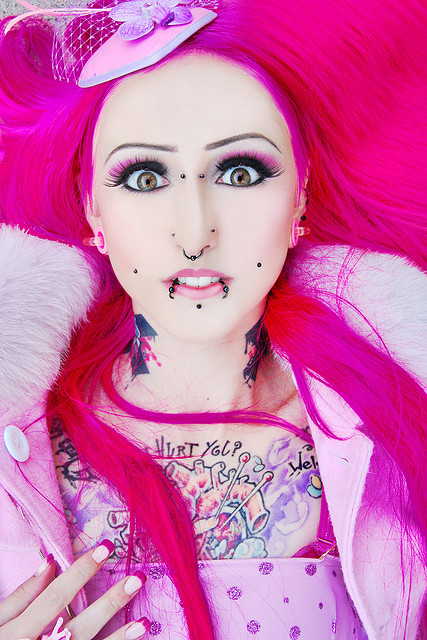 alternative, barbie, cute, died hair, eyelashes, eyes, face, fucking gross, girl, girlie, make up, makeup, model, omfg ew, piercing, piercings, pink, pink hair, tattoo, ugly, ugly piercings, women