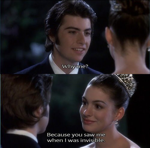 anne hathaway, boy, couple, crown, cute, film, girl, happy, invisible, love, magic, movie, pretty, princess, princess diaries, smile, sparkle, text, ugly guy, words
