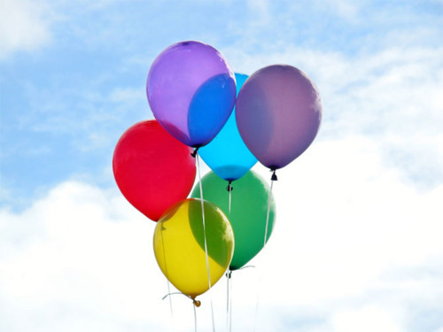 balloon, balloons, blue, clouds, cute, green, pink, pretty, purple, red, sky, yellow