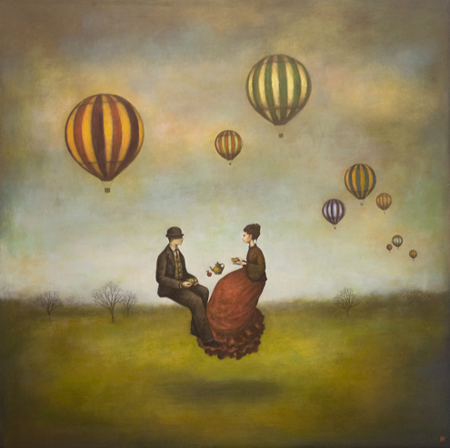 balloons, couple, nature, poetry, tea time