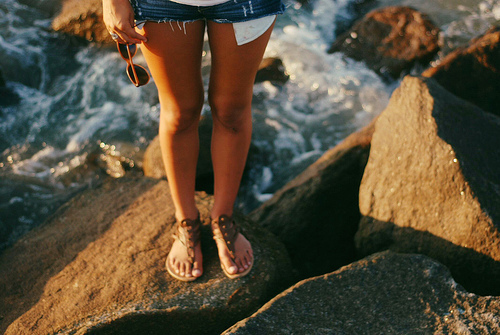 beach, beautiful, feet, girl, legs, nails, ocean, pretty, rocks, sandals, shoes, shorts, summer, sunglasses, tan, water