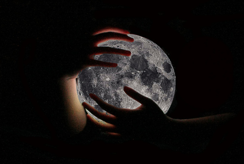 beautiful, crater, hands, light, moon