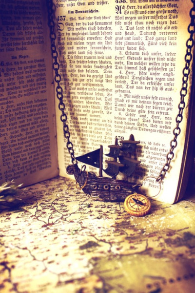 book, chain, compass, map, old
