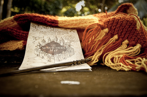 books, daniel radcliffe, draco malfoy, dumbledore, emma watson, gryffindor, harry potter, hermione, hogwarts, map, photo, photography, red, ron weasley, rupert grint, scarf, snape, tom felton, voldemort, wand, yellow