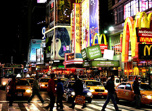broadway, cabs, lights, mcdonalds, new york