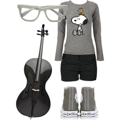 cello, clothes, converse, glasses, grey, peanuts, polyvore