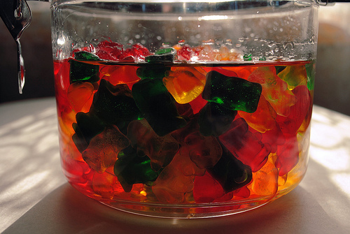 cool, cute, drunken gummy bears, green, gummy bears, orange, red