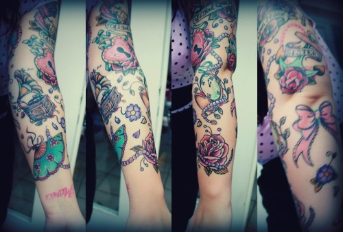 cute, girly, pretty, sleeve, tattoo