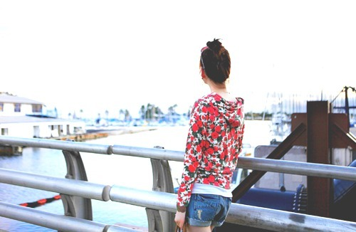 denim, fashion, floral, hair, jacket, photography, pretty, shorts, water
