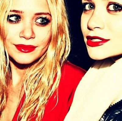 fashion, icons, mary-kate and ashley, red lipstick, redlipstick