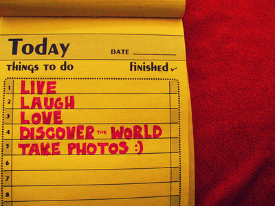laugh, life, list, live, love, photos, red, things to do, today, world, yellow